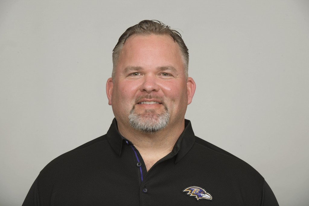 File-This July 12, 2019, photo shows Greg Roman of the Baltimore Ravens NFL football team. The mastermind behind the Baltimore Ravens' prolific offens...
