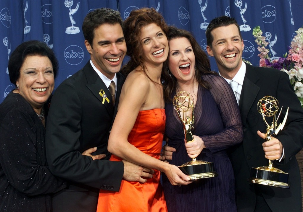 """Cast mates from the comedy """"Will & Grace,"""" from left, Shelley Morrison, Eric McCormack, Debra Messing, Megan Mullally and Sean Hayes pose in the press..."""