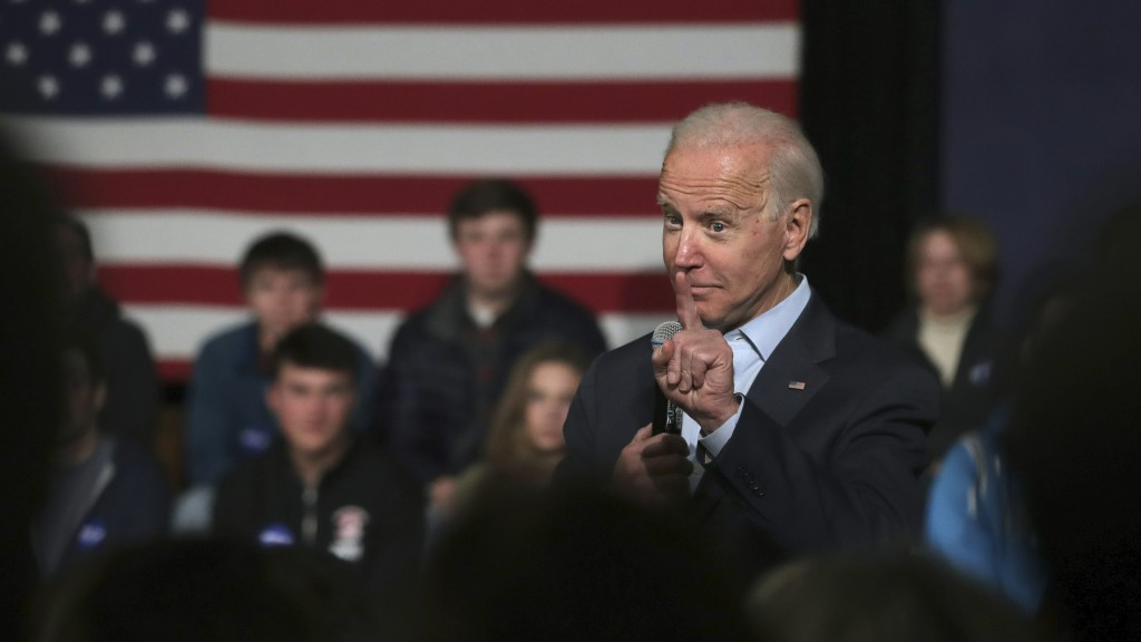Democratic presidential candidate former Vice President Joe Biden addresses a gathering during a campaign stop in Exeter, N.H., Monday, Dec. 30, 2019....