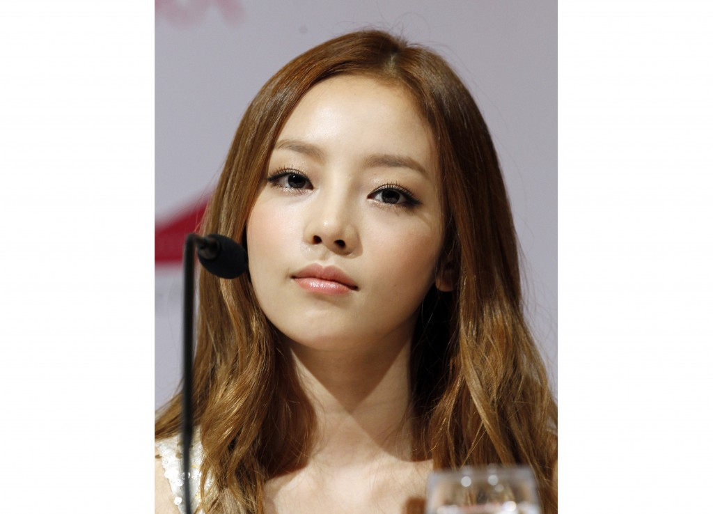 South Korean singer Goo Hara appears at a press conference in Singapore on July 10, 2012. Hara was found dead in her home on Nov. 24. She was 28. (AP ...