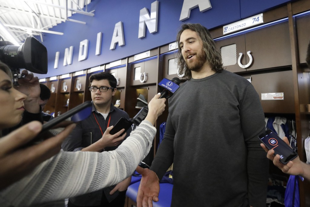 Indianapolis Colts' Anthony Castonzo speaks to the media at the team's NFL football training facility, Monday, Dec. 30, 2019, in Indianapolis. (AP Pho...