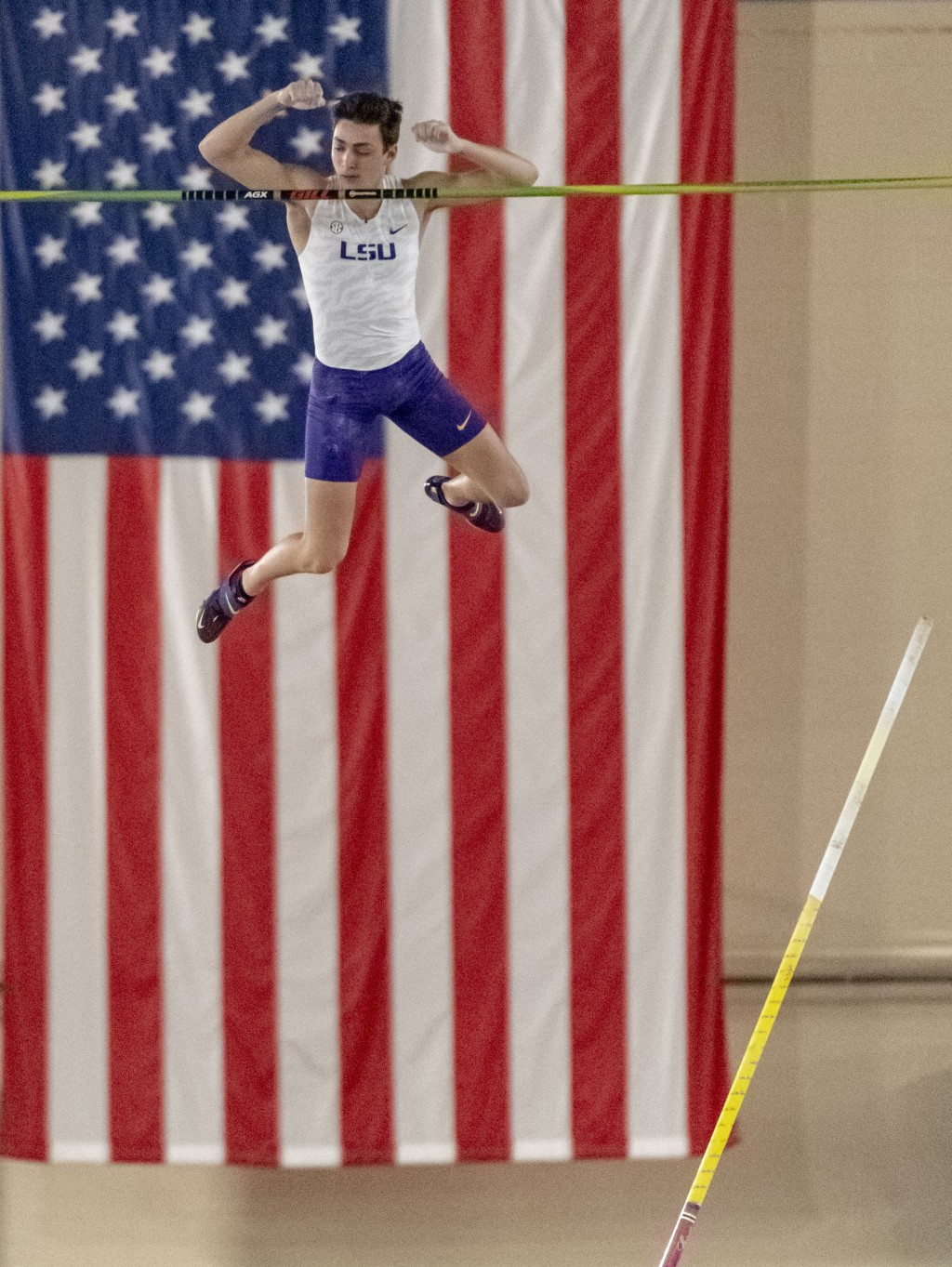 File-This March 8, 2019, file photo shows LSU's Mondo Duplantis competing in the men's pole vault during the NCAA Division I indoor track and field ch...
