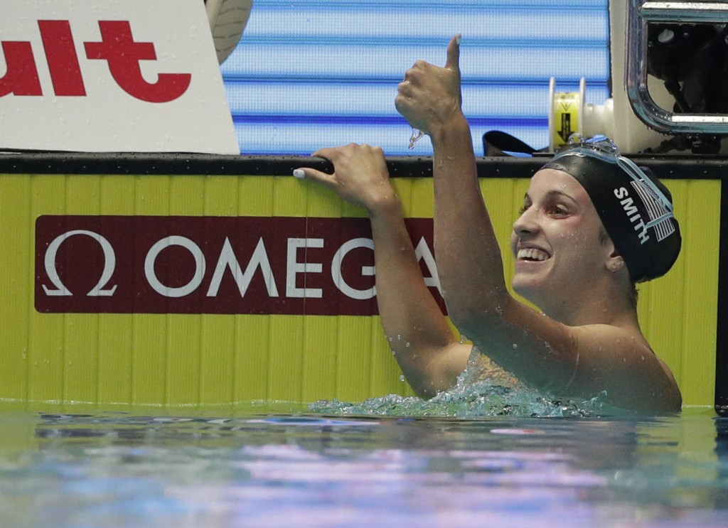 File-This July 26, 2019, file photo shows United States' Regan Smith reacting after her women's 200m backstroke semi final at the World Swimming Champ...