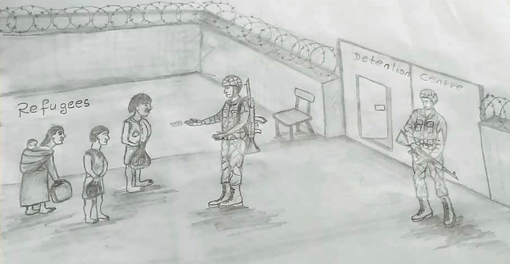 This drawing by a migrant artist nicknamed Aser, provided in 2019, depicts deplorable conditions in a migrant detention center in Libya. Aser's sketch...