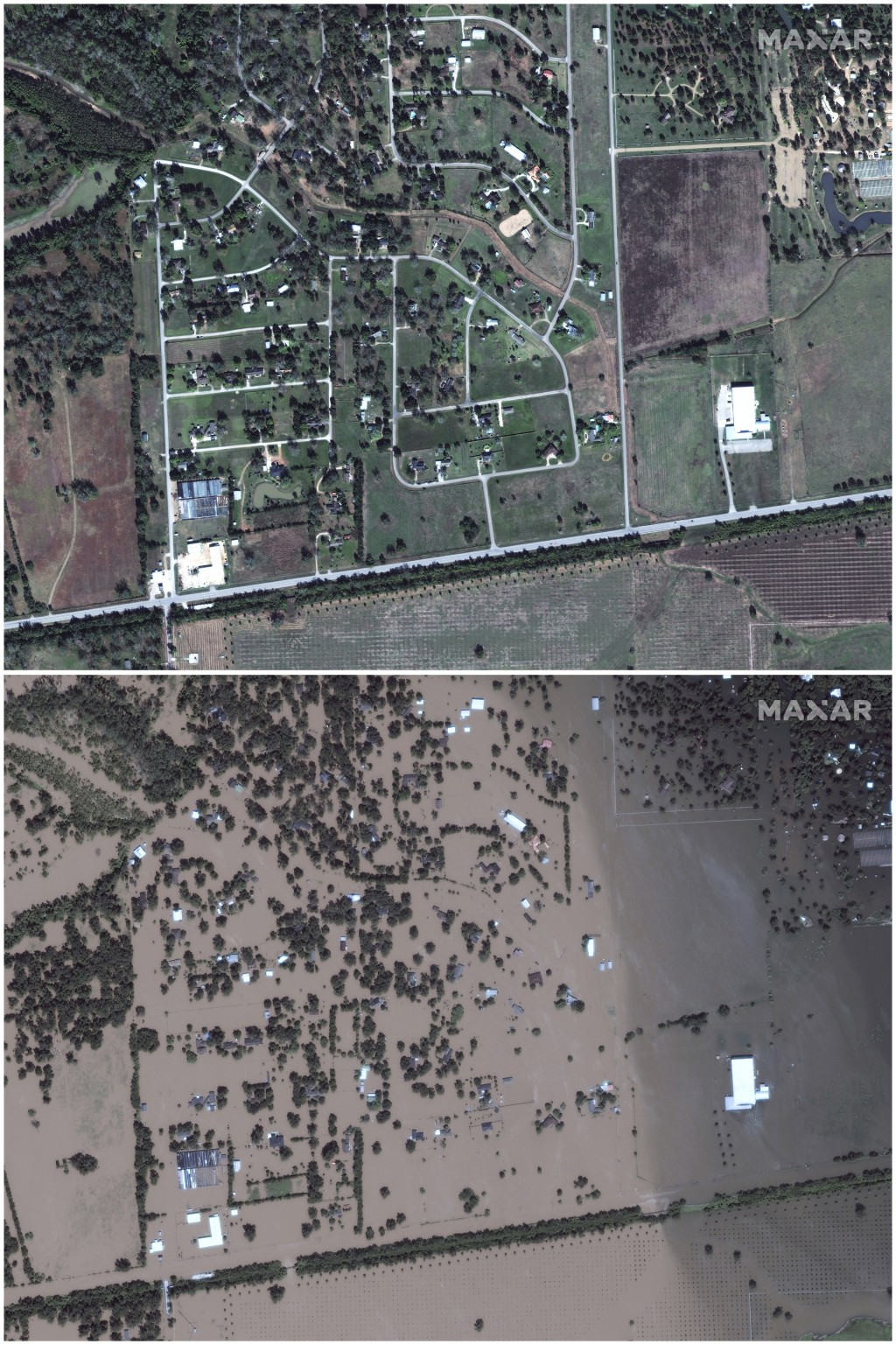 This July 8, 2017, image provided by Maxar Technologies shows Simonton, Texas, west of Houston, on Nov. 20, 2016, top, and on Aug. 30, 2017. (Satellit...