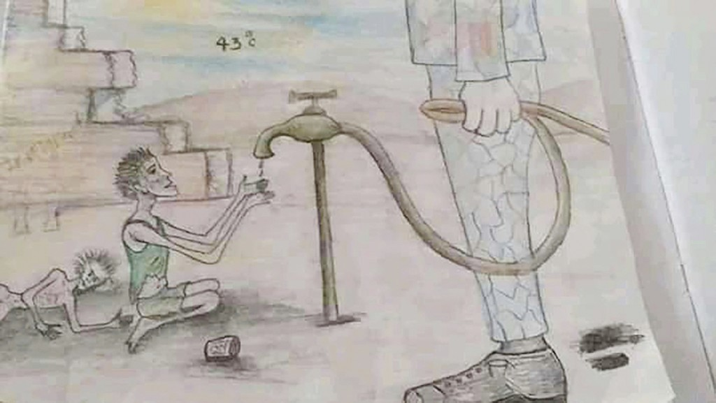 This drawing by a migrant artist nicknamed Aser, provided in 2019, shows a barefoot migrant in a detention center kneeling in front of a guard and beg...