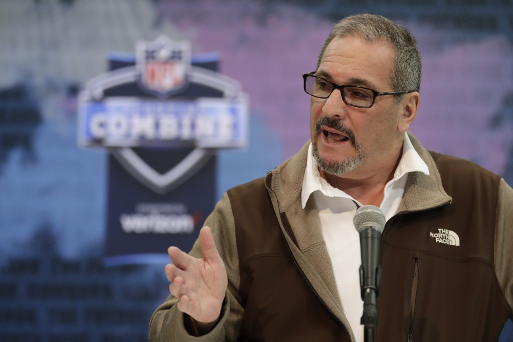 File-This Feb. 27, 2019, file photo shows New York Giants general manager Dave Gettleman speaking during a press conference at the NFL football scouti...