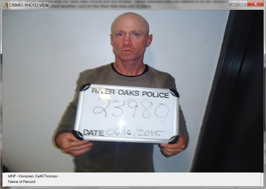 This June 16, 2015, photo provided by the River Oaks Police Department, in Texas, shows Keith Thomas Kinnunen. Authorities say that Kinnunen is the ma...