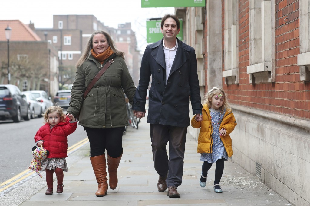 Rebecca Steinfeld and Charles Keidan, with their children Ariel and Eden, arrive at Kensington and Chelsea Register Office to register for a civil par...