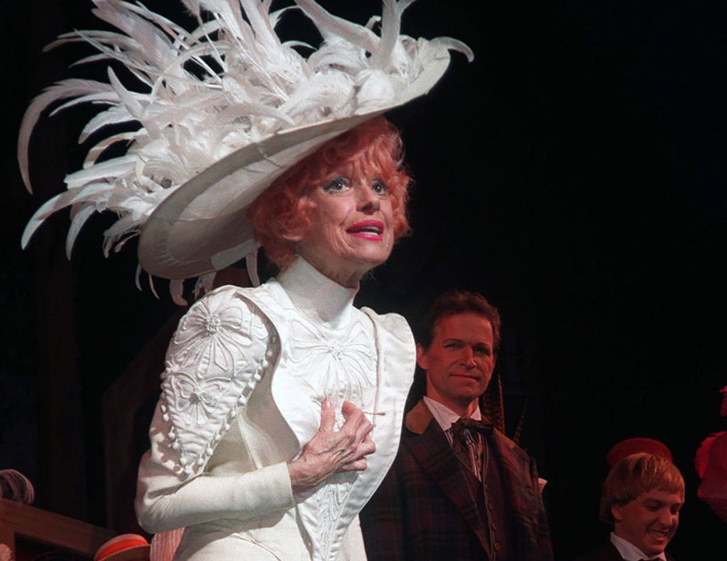"""Carol Channing acknowledges applause during the opening night curtain call for the Broadway revival of """"Hello Dolly!"""" in New York on Oct. 19, 1995. Th..."""