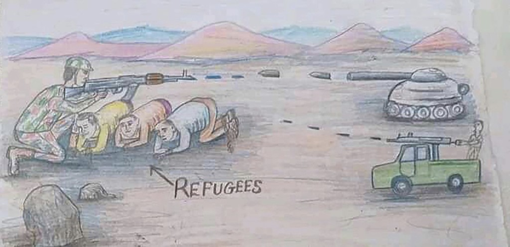 This drawing by a migrant artist nicknamed Aser, provided in 2019, depicts refugees in Libya who are trapped in the fighting between forces of militar...