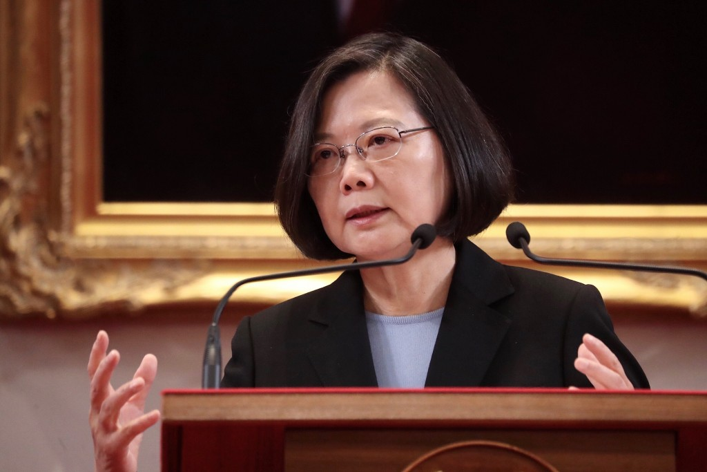 President Tsai Ing-wen talks about the government's response to the latest development of the U.S-China trade disputes on May 10 (Source: CNA)