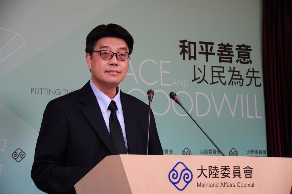 陸委會發言人邱垂正(照片來源:中央社提供)