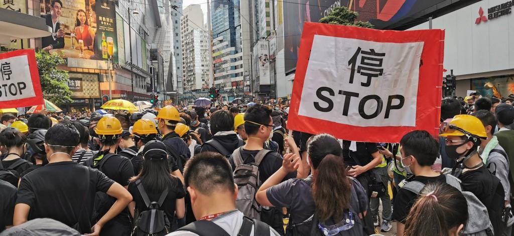 香港28日反送中「自發」遊行(照片來源:中央社提供)