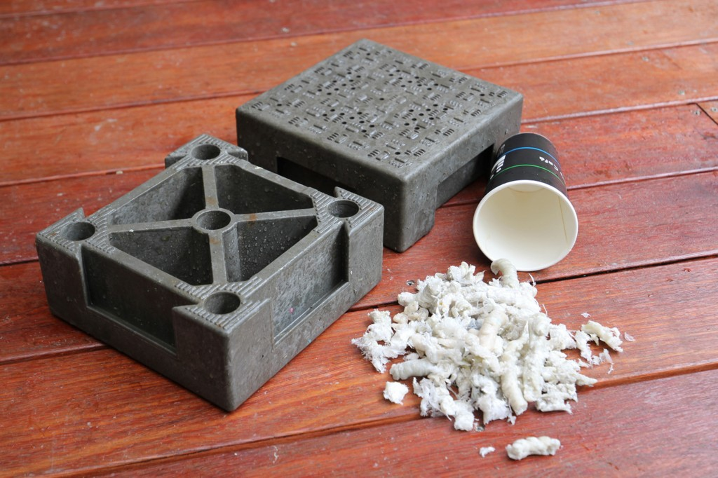Paper cup-turned tiles (CNA photo)