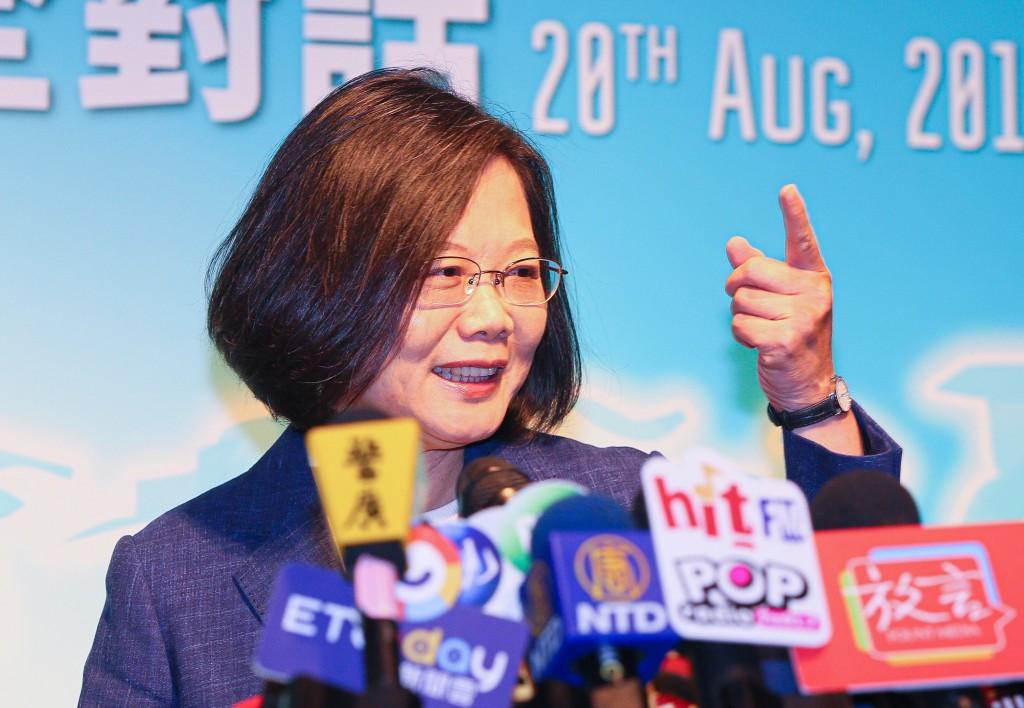 Tsai at press conference.