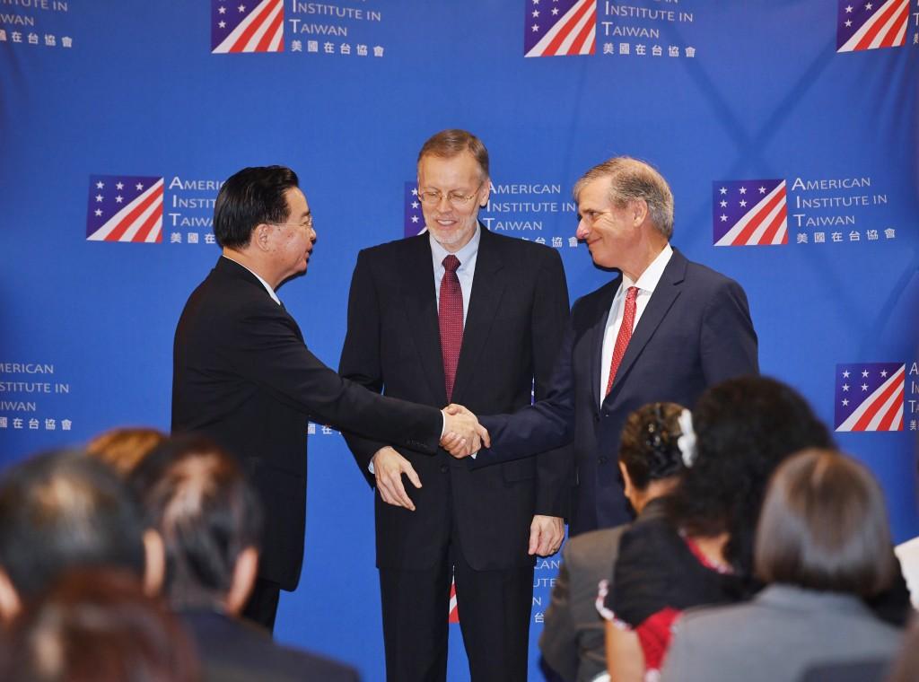 Foreign Minister Joseph Wu (Left), AIT Director Brent Christensen (Center), and U.S. Deputy Assistant Secretary Scott Busby (Right) (Source: CNA)