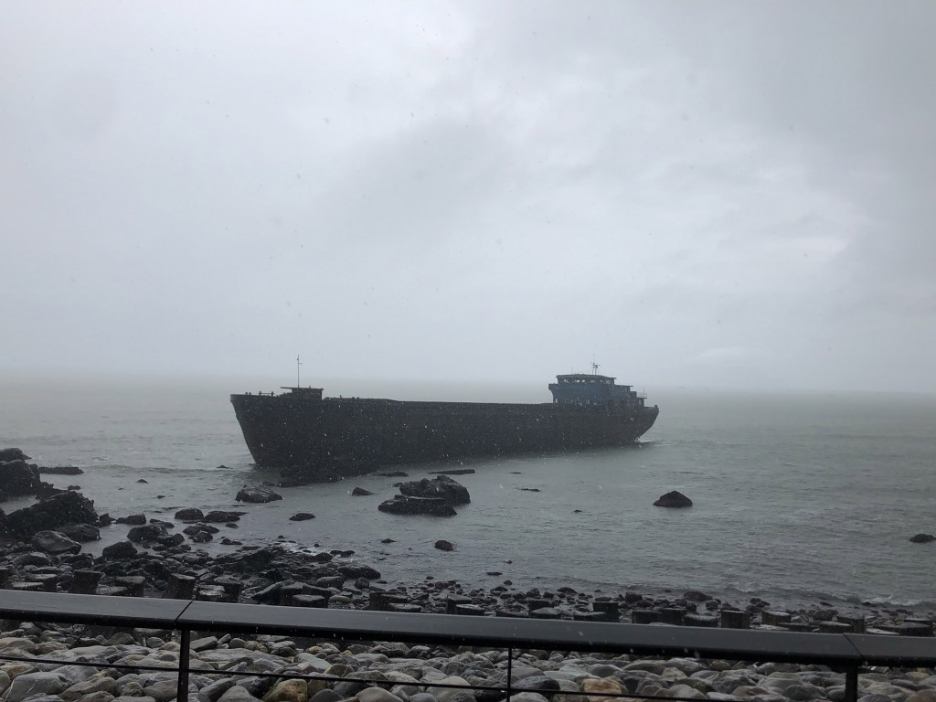 An empty freighter ran aground in Yilan County.
