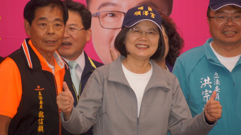 President Tsai Ing-wen wearing the popular 'Puyan Shunze Temple' cap