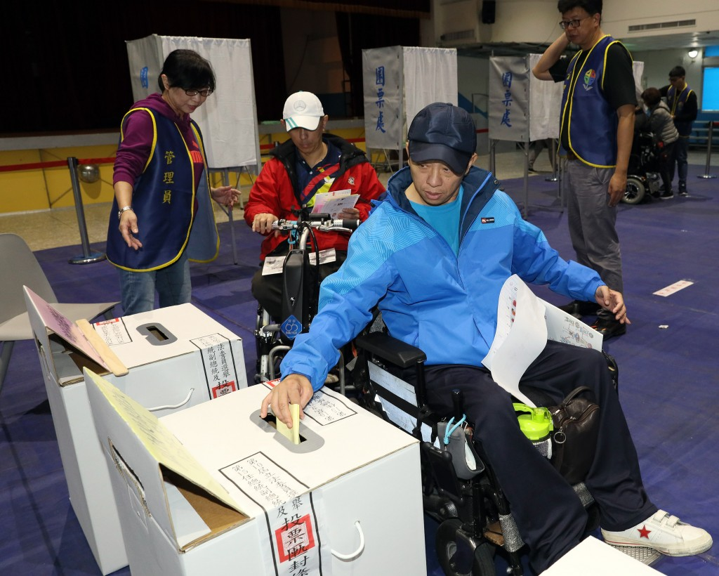 The election process is being rehearsed at Taiwan's Central Election Commission.