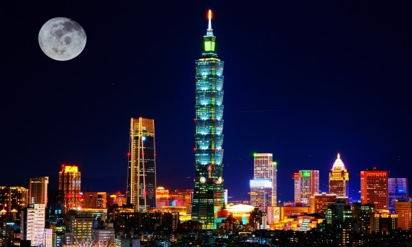 Taipei skyline at night.