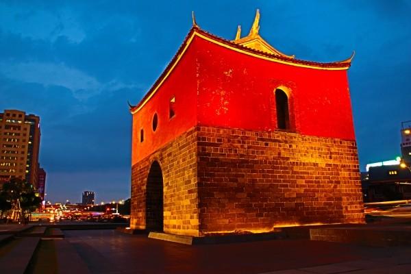Taipei's North Gate at dusk.