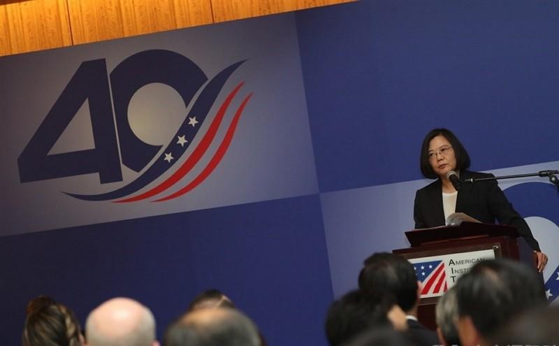 總統蔡英文4月15日出席「台灣關係法&AIT@40:40年友誼慶祝酒會」