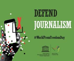 「世界新聞自由日宣傳圖片」。(圖片轉載自聯合國教科文組織網站)