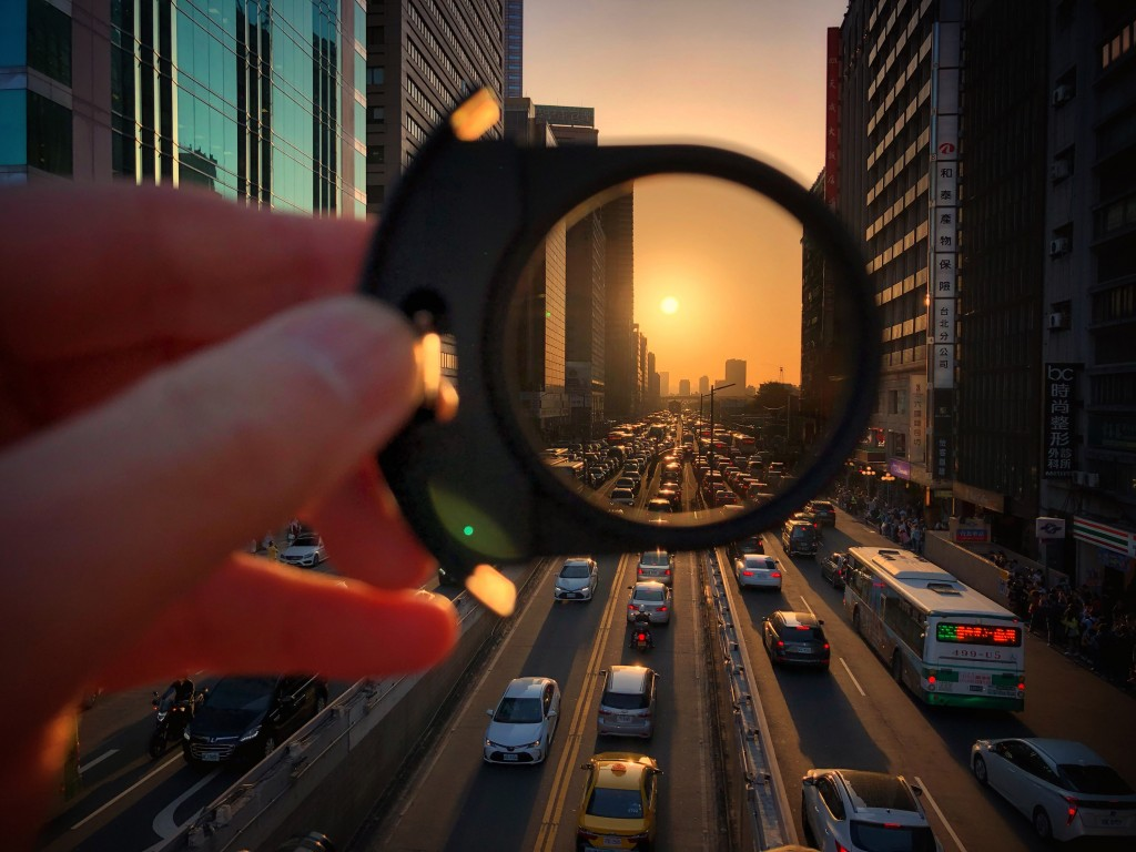 'Manhattanhenge' on Zhongxiao West Road Friday evening, May 3.
