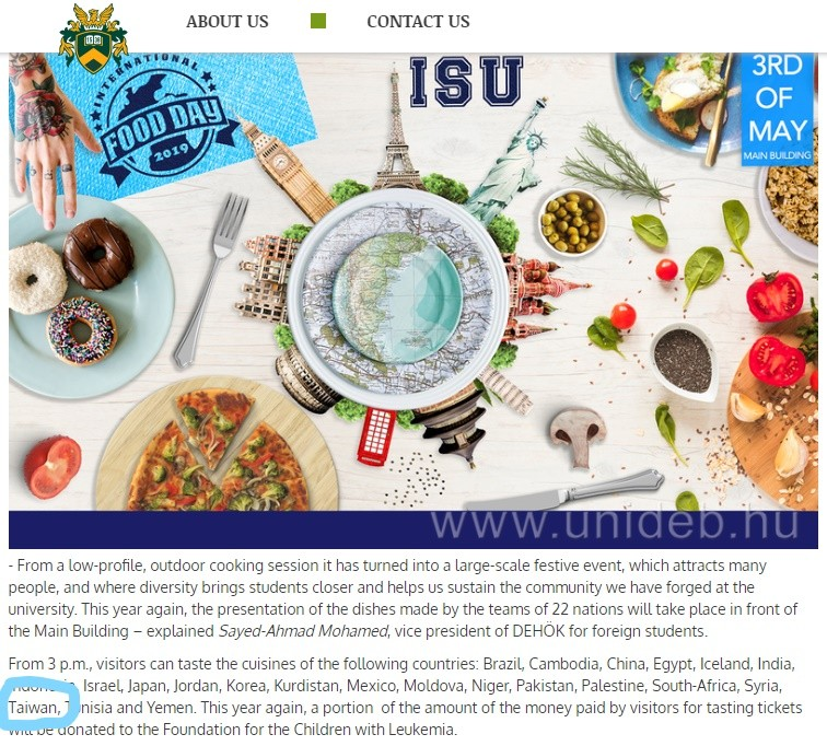 China tried to remove Taiwan from a Hungarian university food festival (screenshot from hirek.unideb.hu)