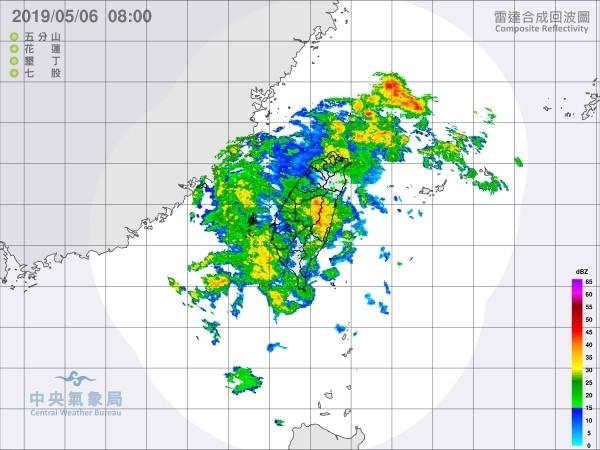 CWB radar image of rain around Taiwan today.