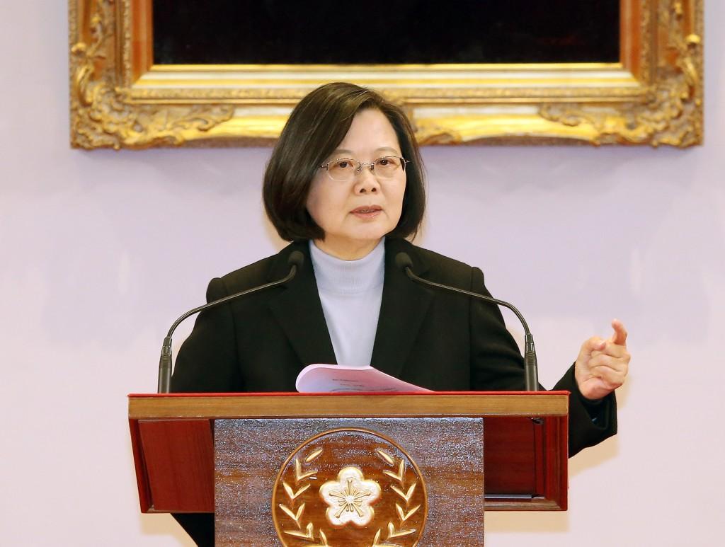 總統蔡英文1日早上出席「中華民國2020年元旦總統府升 旗典禮」,隨後在府內發表元旦談話。