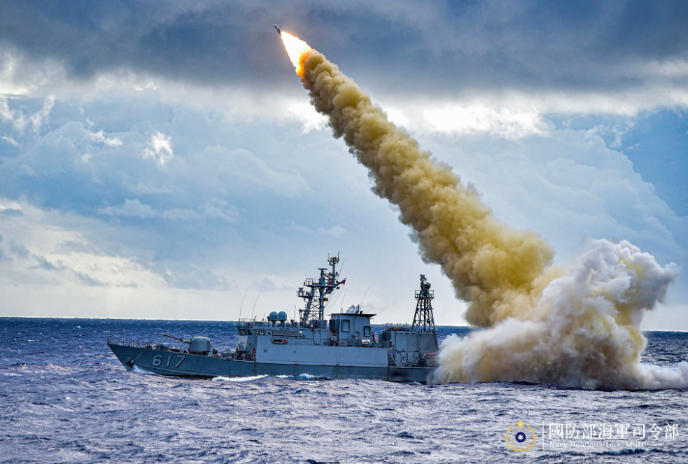 The firing of a Hsiung Feng III missile in 2019 (screenshot of Navy Facebook page).