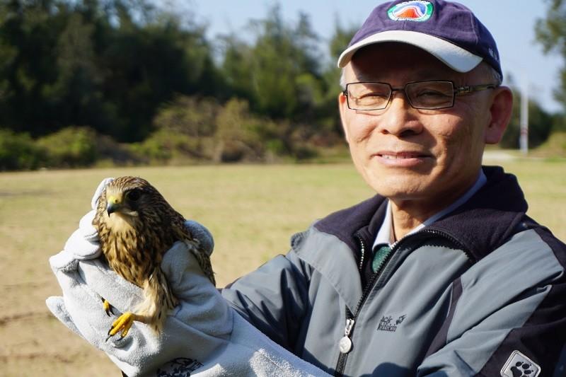 金門國家公園管理處處長曾偉宏3日率同仁,將飛行能力達標準的紅隼,在原拾獲地周邊進行野放。中央社