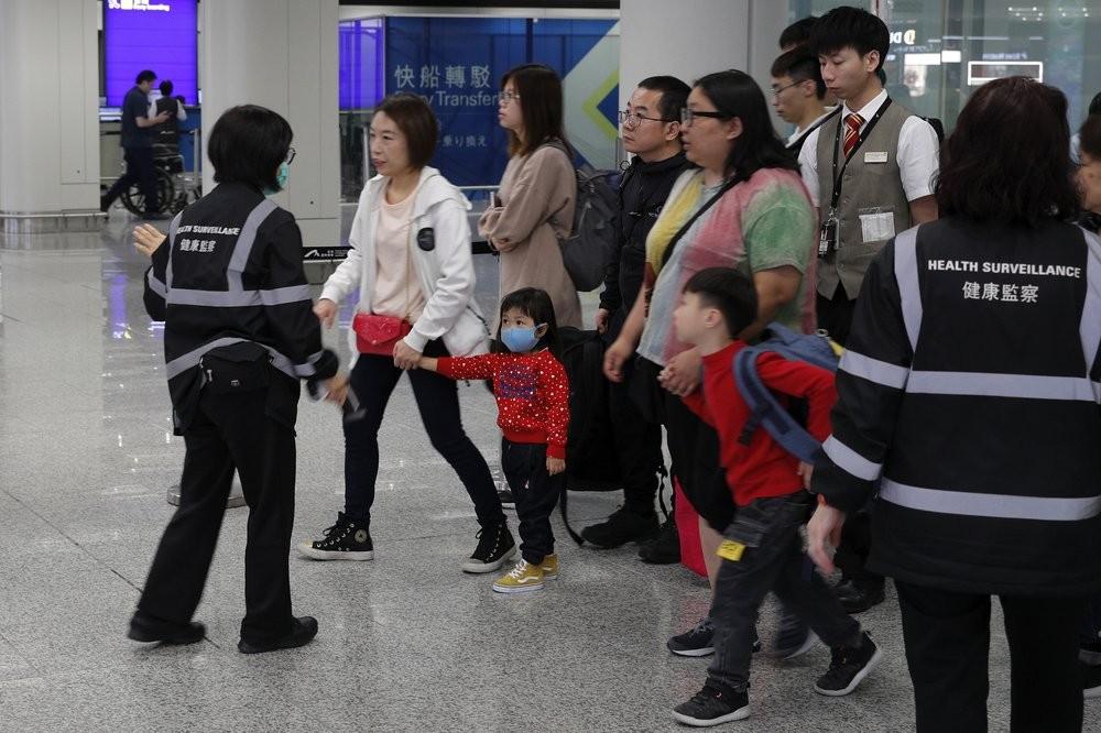 Airport health checks in Hong Kong.