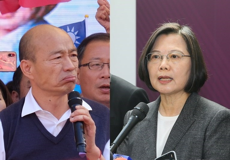韓國瑜(左)、蔡英文