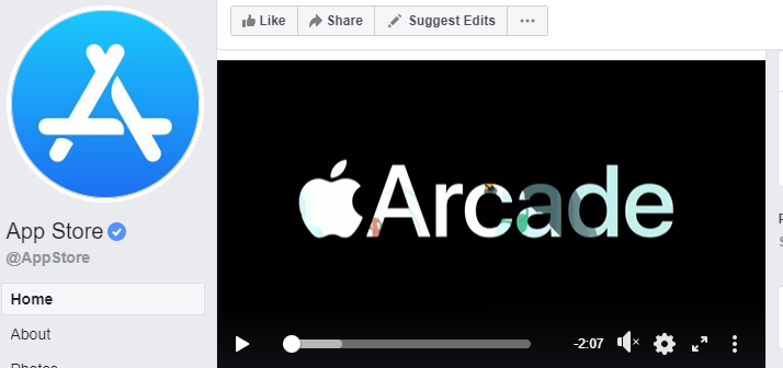 Apple's App Store (screenshot from Facebook).