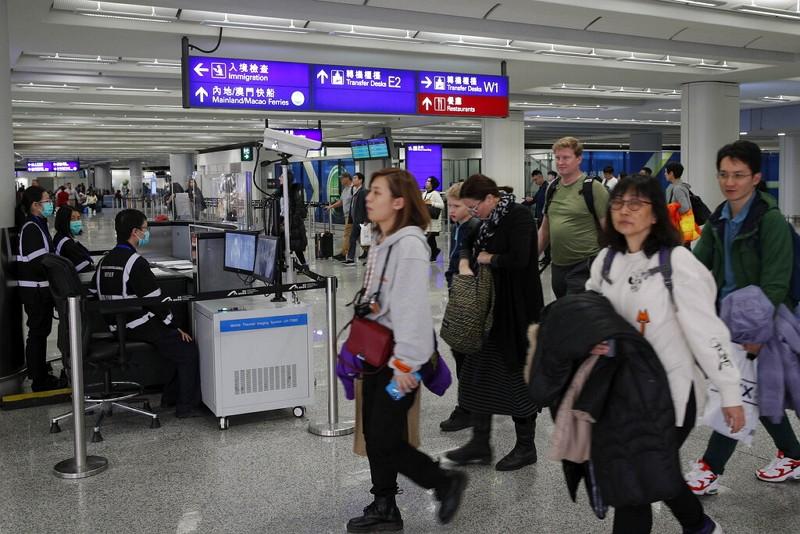 香港機場體溫檢疫(圖/美聯社)