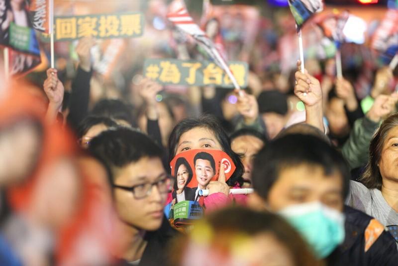 Supporters of incumbent Taiwanese President Tsai Ing-wen.