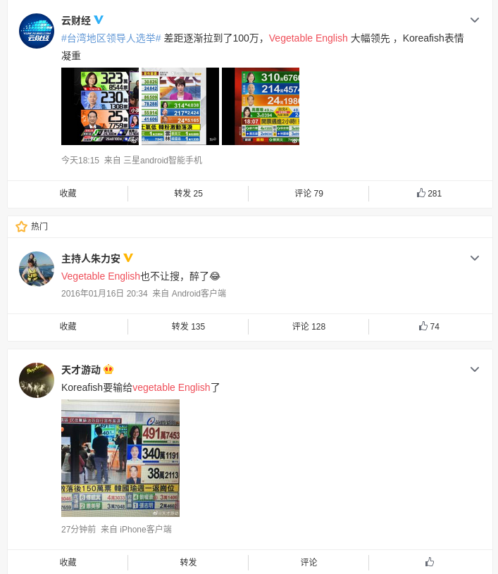 Chinese netizens declare 'Vegetable English' defeats 'Korea Fish' in Taiwan election