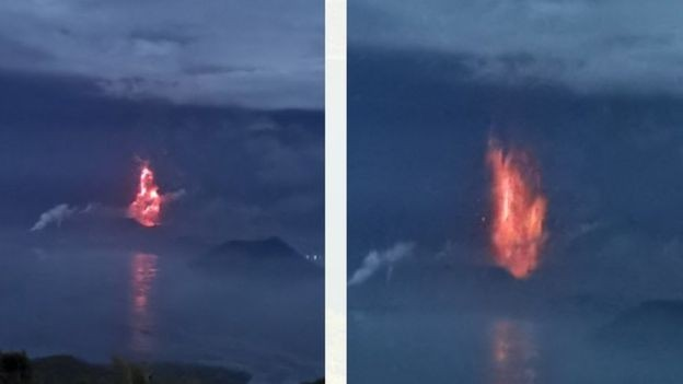 Lava seen bursting out of volcano. (PHIVOLCS photo)