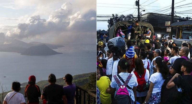 遠看火山噴發很壯觀(左圖) , 但周邊村落的民眾卻得忙著逃命(右圖)。美聯社/TN合成