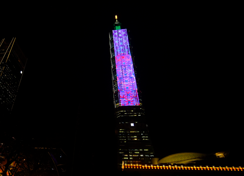 Michael Lin's work can be seen on Taipei 101. (Taipei Dangdai photo)