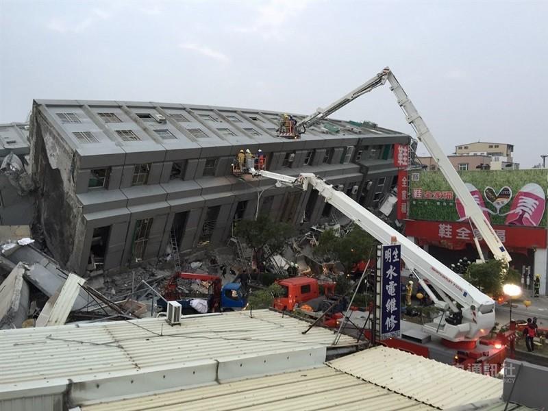 台南維冠金龍大樓2016年2月6日因強震倒塌,造成慘重死傷。(中央社檔案照片)