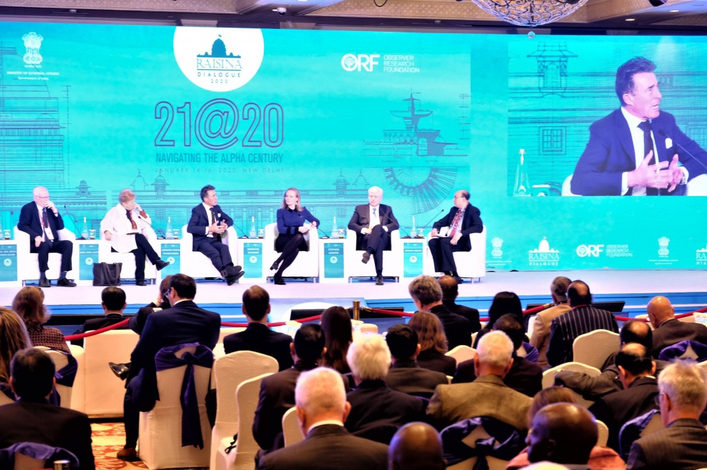 Ex-NATO chief Anders Fogh Rasmussen (third from left and on screen right) at the Raisina Dialogue.