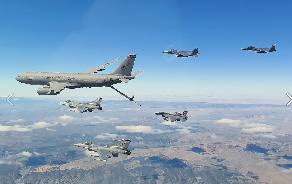 An RSAF Airbus A330-200 MRTT (left) in the U.S. last month (screenshot from the RSAF Facebook page).