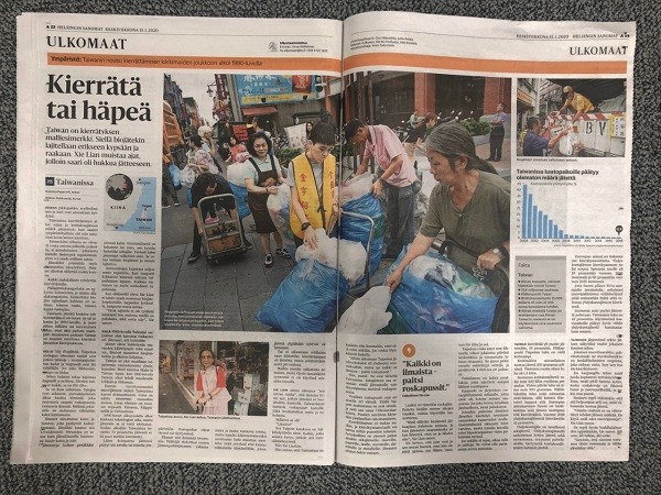 Finnish newspaper compliments Taiwan's recycling system (Taipei Representative Office in Finland photo)