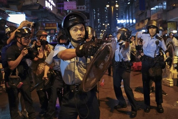 Hong Kong police officer during anti-extradition protests.