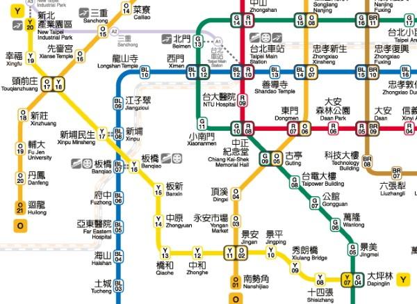 TRTC map of MRT Circular Line.