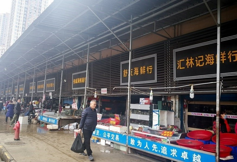 A seafood market in Wuhan, China where 2019-nCoV outbreak was first reported. (China News Service photo)